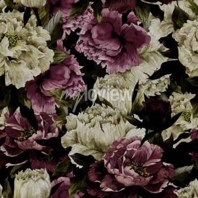 Wall mural Seamless floral pattern with roses on dark background watercolor