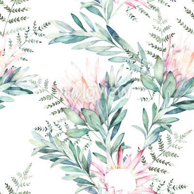 Sticker Watercolor seamless pattern witn eucalyptus branch protea and fern