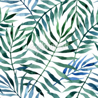 Sticker Seamless exotic pattern with tropical leaves