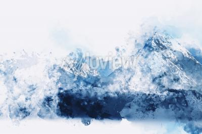 Canvas print Abstract mountains in blue tone digital watercolor painting