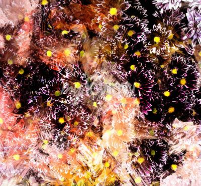 Canvas print Abstract floral composition with small chrysanthemums on grunge striped blurred background