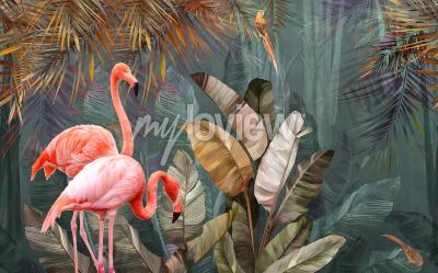 Wall mural Flamingo background design with tropical palm and banana leaves
