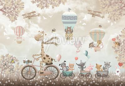 Wall mural Happy giraffe