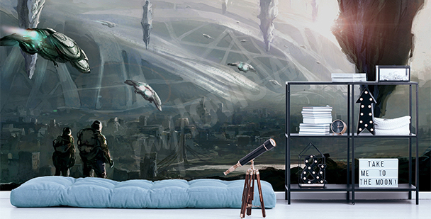 3D science-fiction mural
