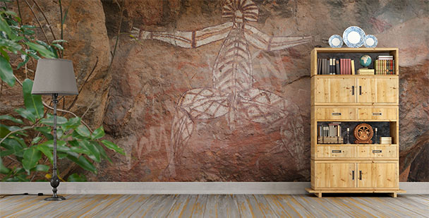 Aboriginal art wall mural