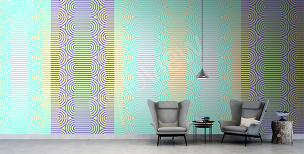 Abstract retro wall mural