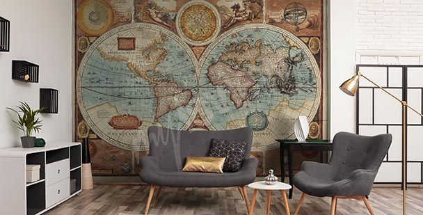Aged cartography mural