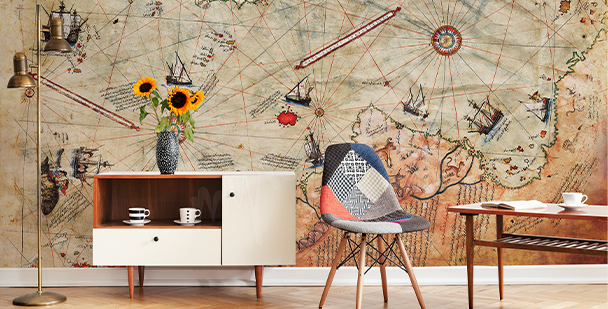 Aged map wall mural