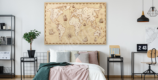 Aged retro map canvas print