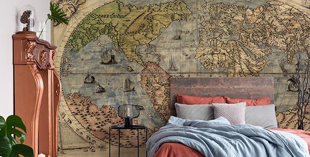 Ancient retro map mural