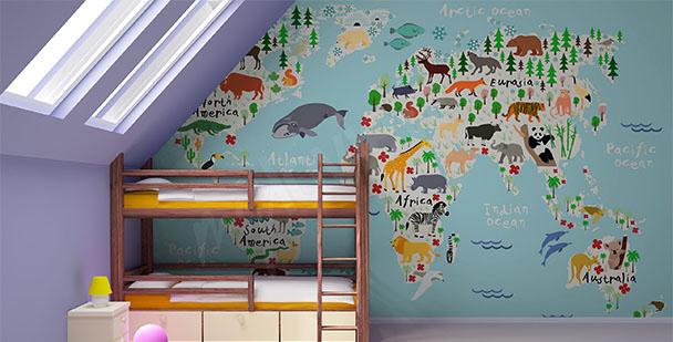 Animal map mural