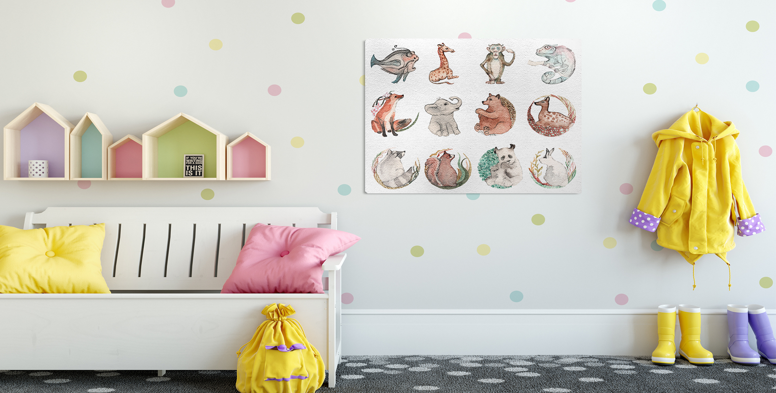 Animals canvas print for a child's room