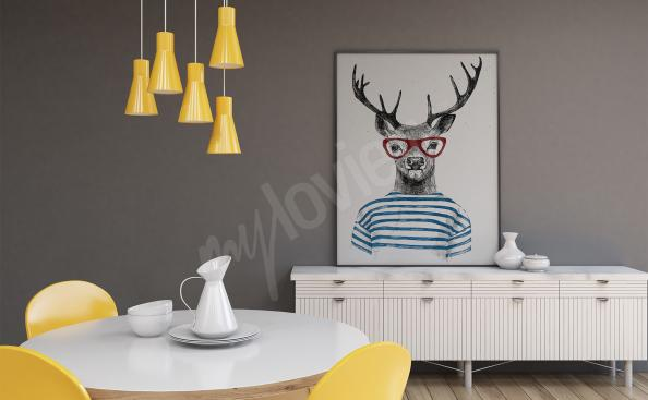 Animals poster – deer with glasses