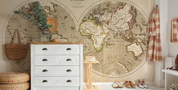 Antique-style wall mural