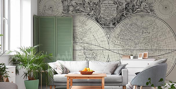 Archival retro map mural