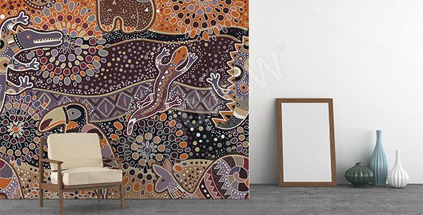 Australian etno motif mural