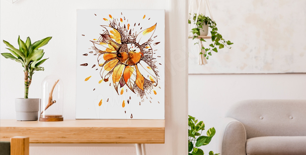 Minimal sunflower canvas print