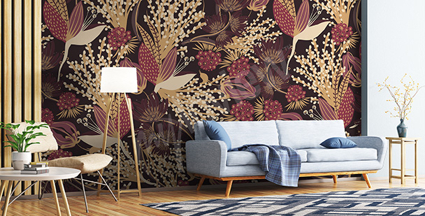 Autumn flowers mural