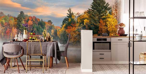 Autumn landscape mural