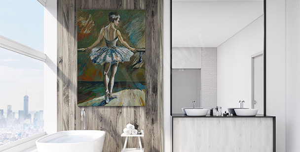 Ballerina canvas print for the bathroom