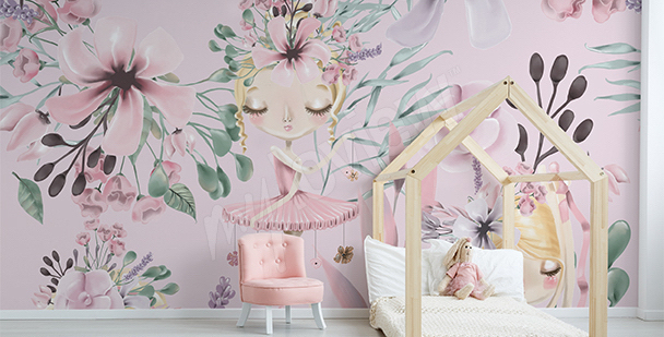 Pattern mural for girl's room