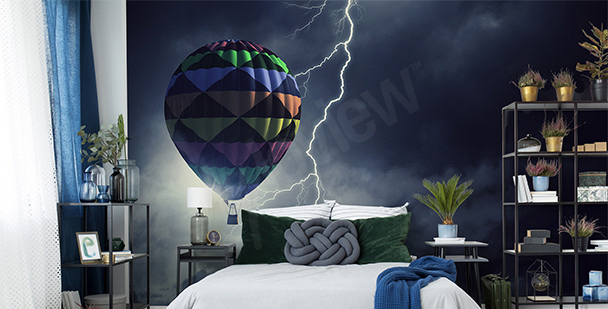 Balloon during storm mural