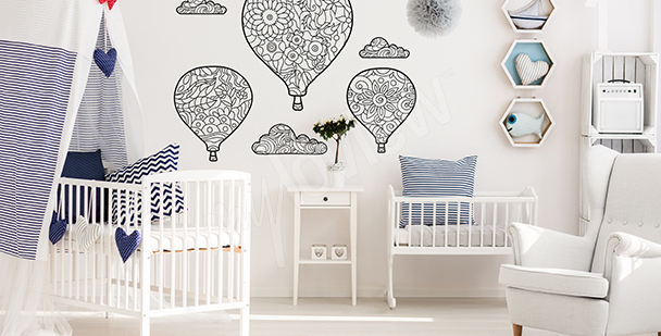 Balloons wall mural for coloring