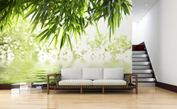 Bamboo leaves mural