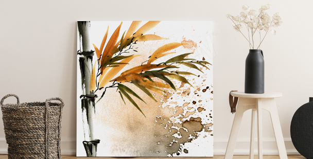Bamboo living room canvas print