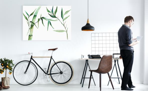 Bamboo office canvas print