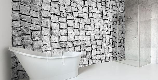 Bathroom mural stones
