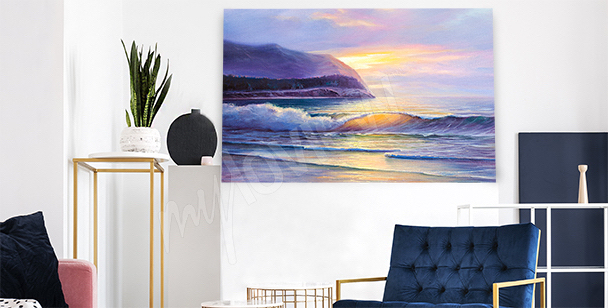 Beach at sunset canvas print