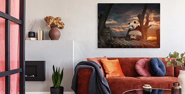 Bear at sunset canvas print