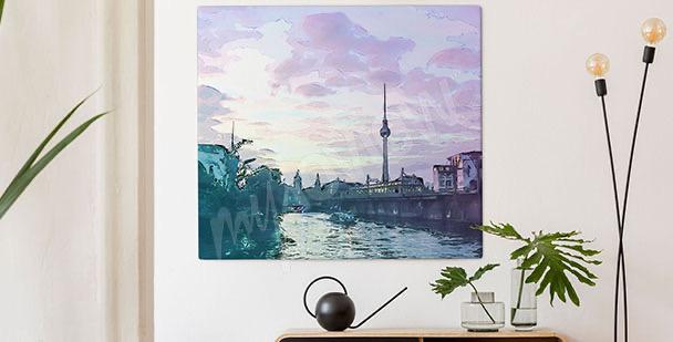 Berlin at sunset canvas print