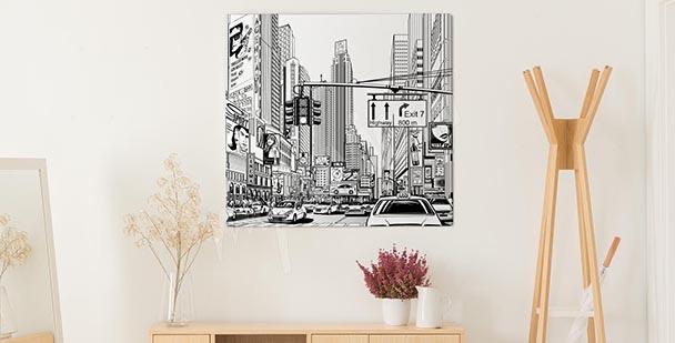 Big city illustration canvas print