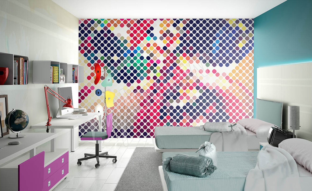 Abstract mural for teenage girl's room