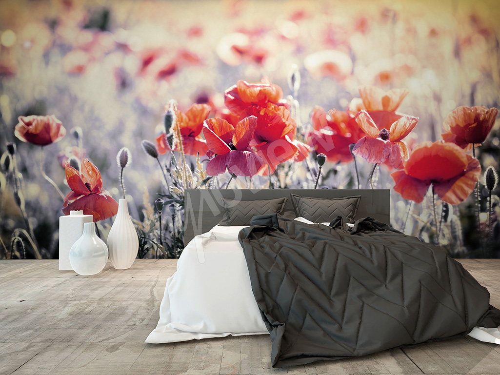 Bedroom wall mural flowers