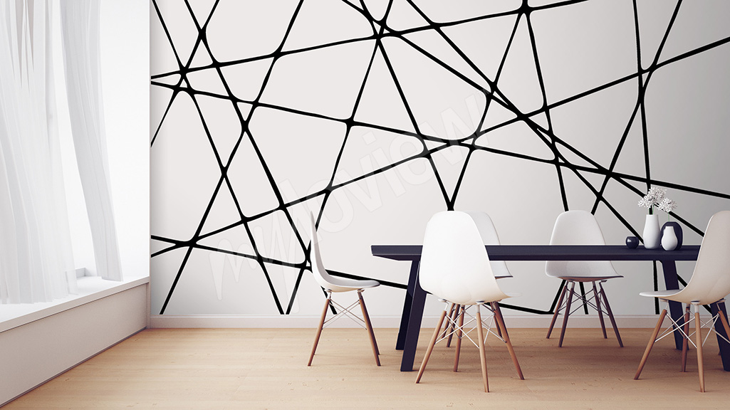Black and white graphic mural