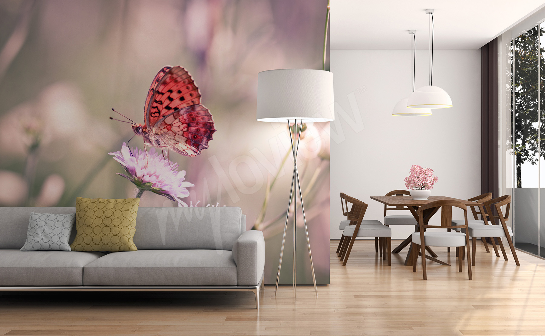 Murals butterflies to size of wall myloview go to the product butterfly wall mural for living room amipublicfo Image collections