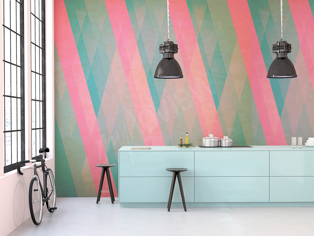 Cheap mural for kitchen with stripes