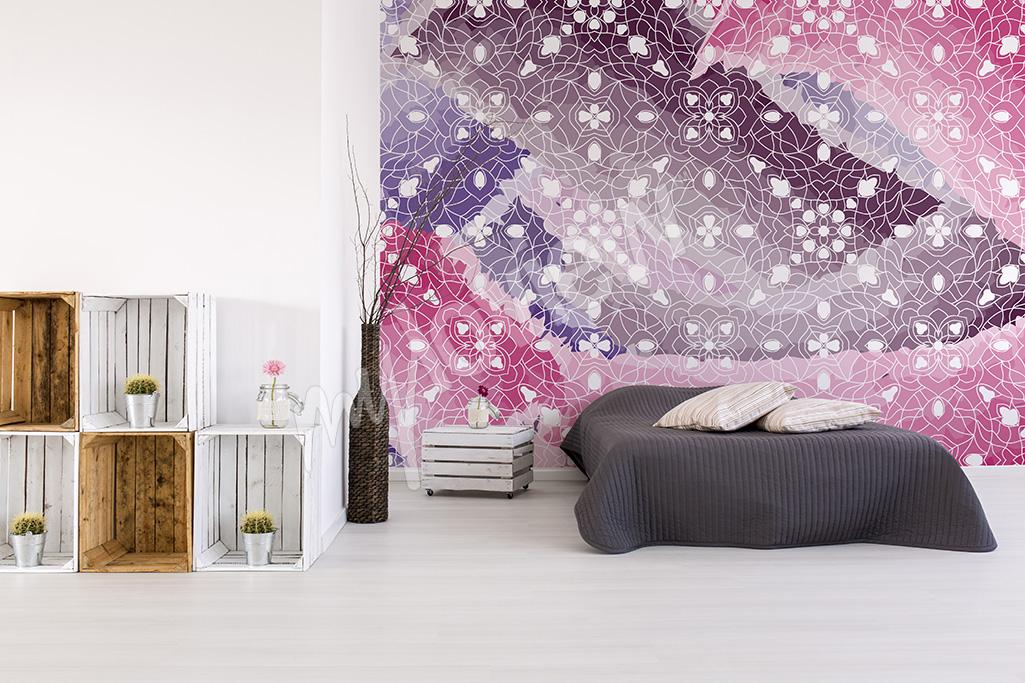 Pink mural for bedroom