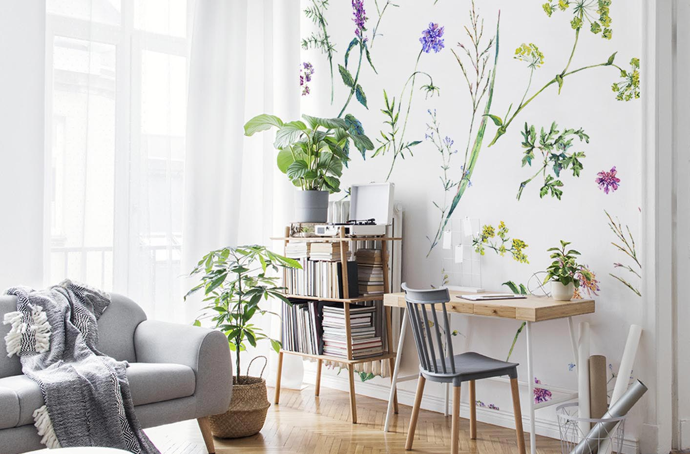 Flowers and herbs wall mural