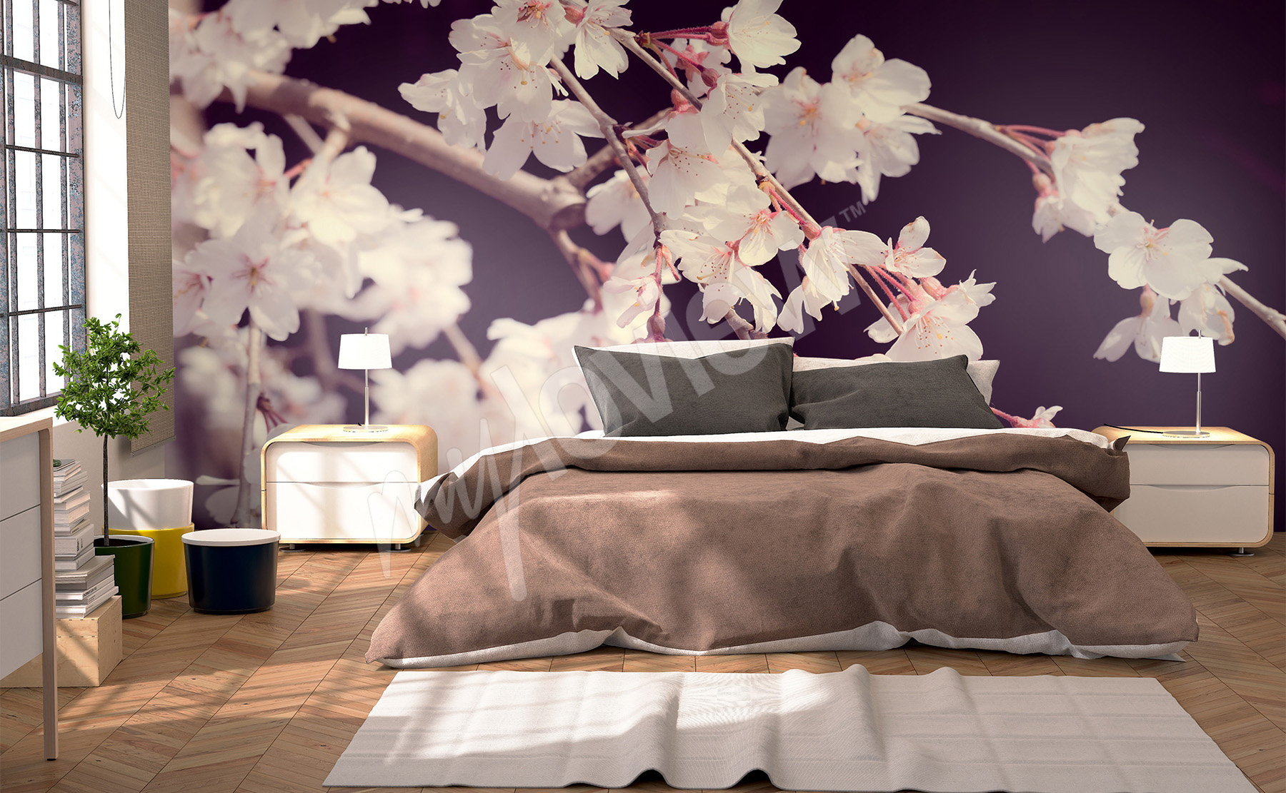 Murals bedroom to size of wall for Modele de chambre a coucher adulte