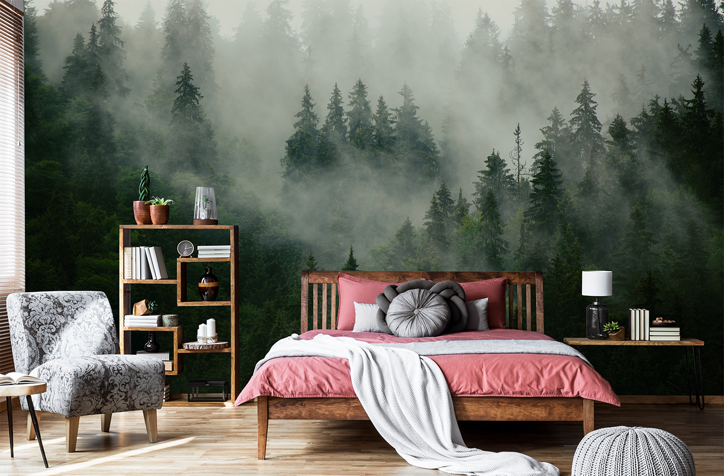Foggy forest mural