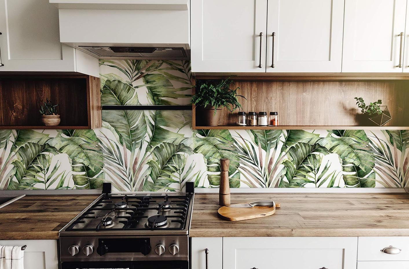 Palm fronds mural