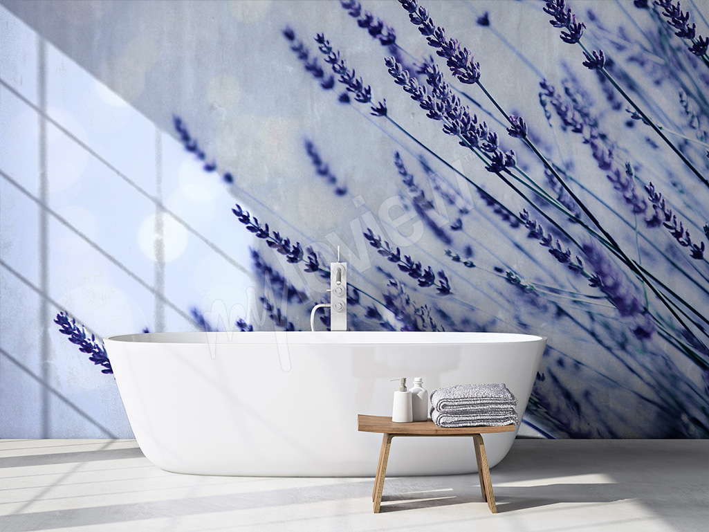 Lavender wall mural for bathroom