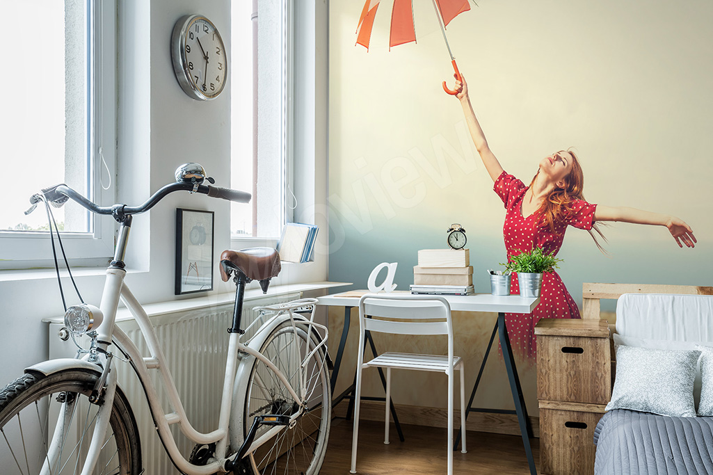 Mural for girl's room with umbrella