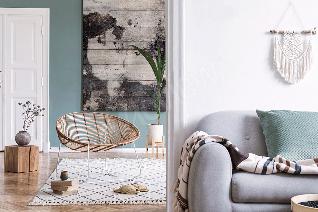 Scandinavian interior with wooden decorative elements