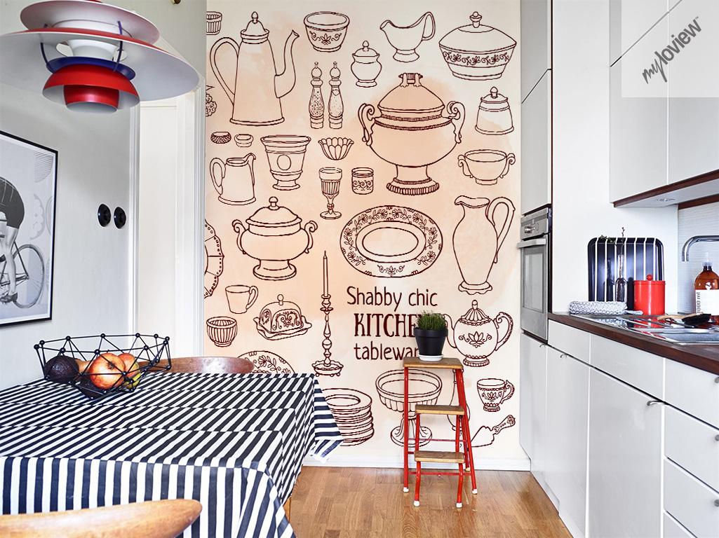 Shabby Chic kitchen mural