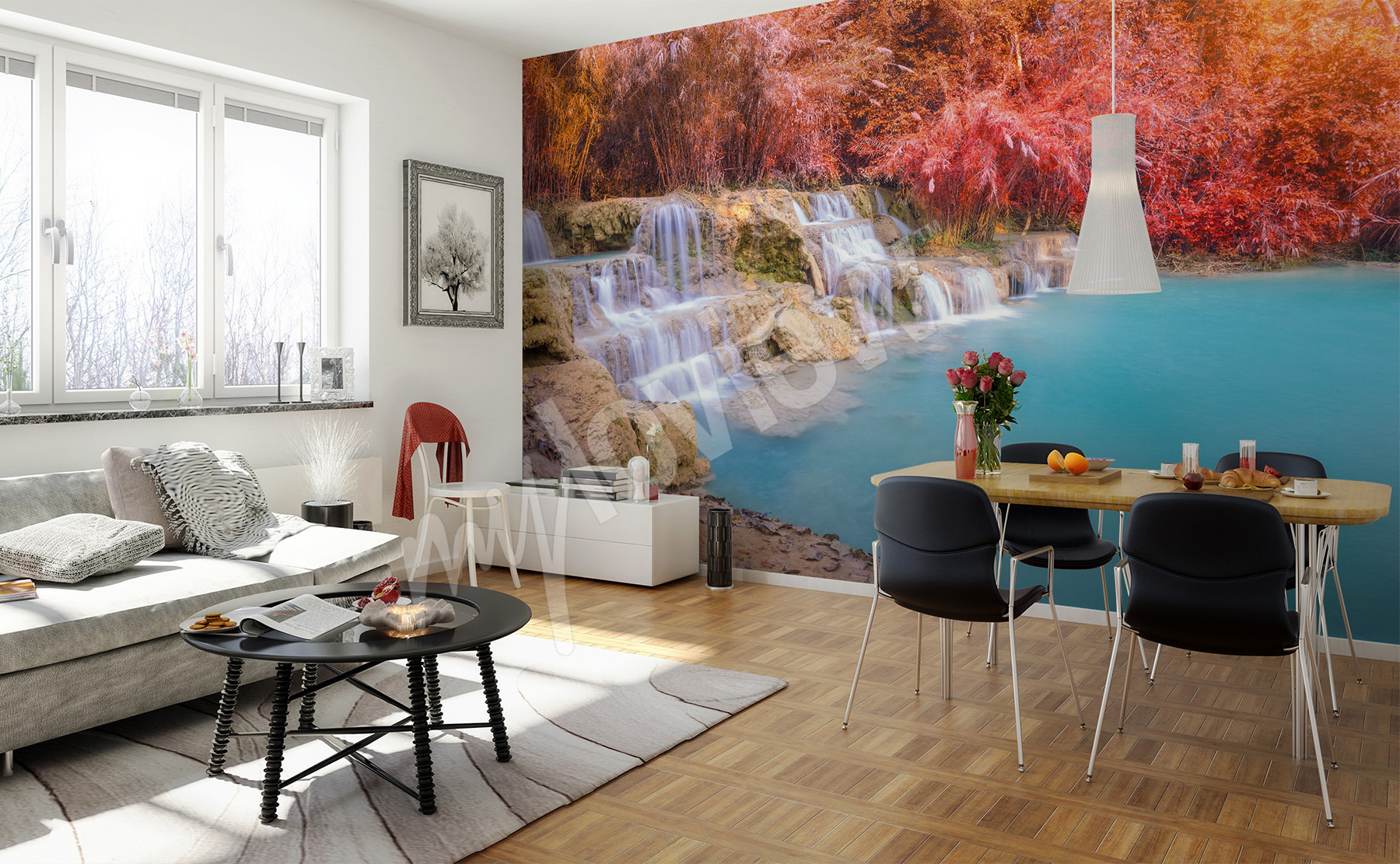 murals waterfall to size of wall myloview com go to the product tropical walterfall wall mural waterfall landscape wallpaper